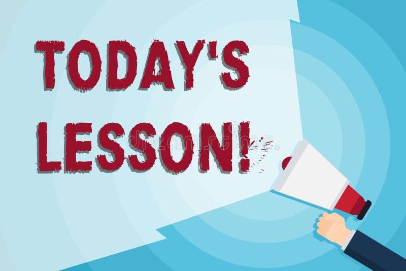 Słowo pisze tekscie S Dzisiaj Jest Lekcyjny Biznesowy pojęcie dla pyta dla indywidualnej nauki wyznacza Coś być uczącym się ręką royalty ilustracja