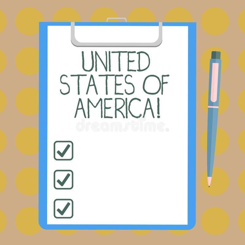 Słowo pisze tekscie Stany Zjednoczone Ameryka Biznesowy pojęcie dla kraju w północny Kapitałowy washington dc Pustym prześcieradl royalty ilustracja