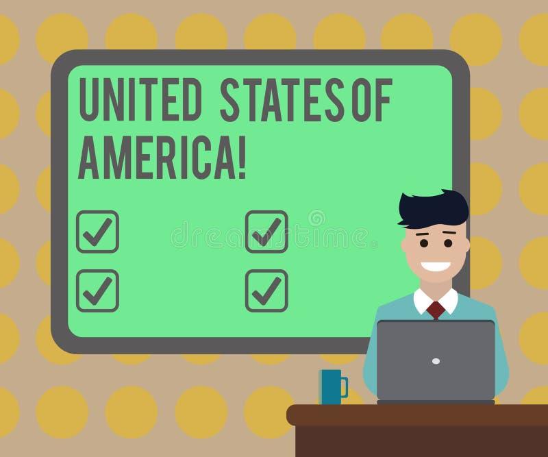 Słowo pisze tekscie Stany Zjednoczone Ameryka Biznesowy pojęcie dla kraju w północnym Kapitałowym washington dc pustym miejscu royalty ilustracja