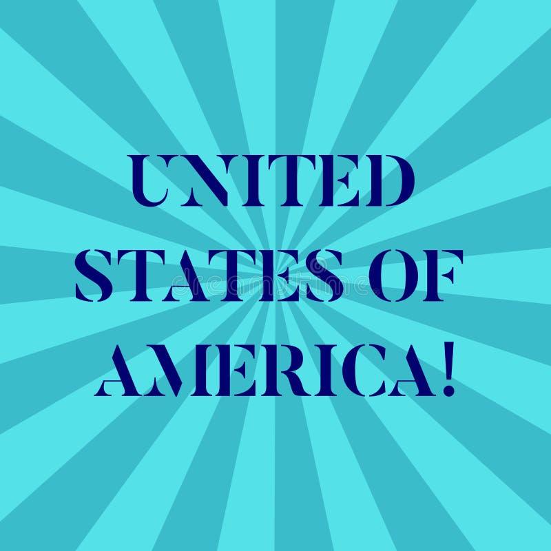 Słowo pisze tekscie Stany Zjednoczone Ameryka Biznesowy pojęcie dla kraju w północnym Kapitałowym washington dc Sunburst ilustracji