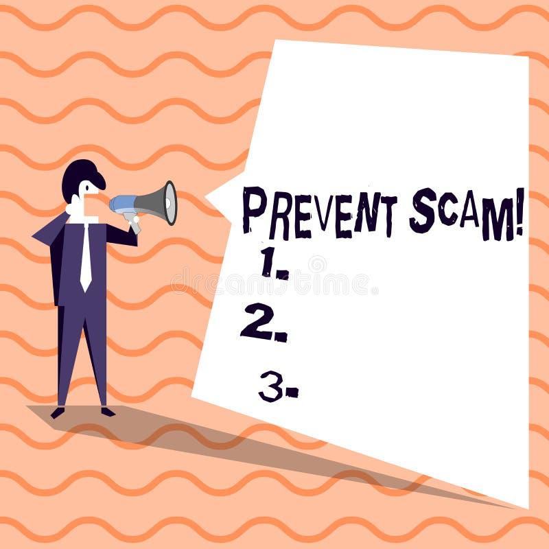 Słowo pisze tekscie Zapobiega Scam Biznesowy pojęcie dla ochrona konsumentów transakcji oszukańczego biznesmena Krzyczy dalej royalty ilustracja