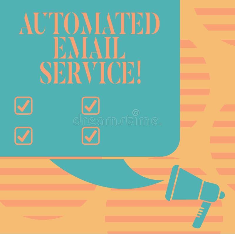 Słowo pisze tekst Automatyzującej poczty elektronicznej Biznesowy pojęcie dla automatyczny podejmowanie decyzji opierający się na ilustracja wektor