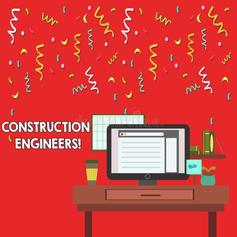 Słowo pisze tekst budowy inżynierów Biznesowy pojęcie dla dyscypliny która rozdaje z projektować fotografię i planować ilustracji