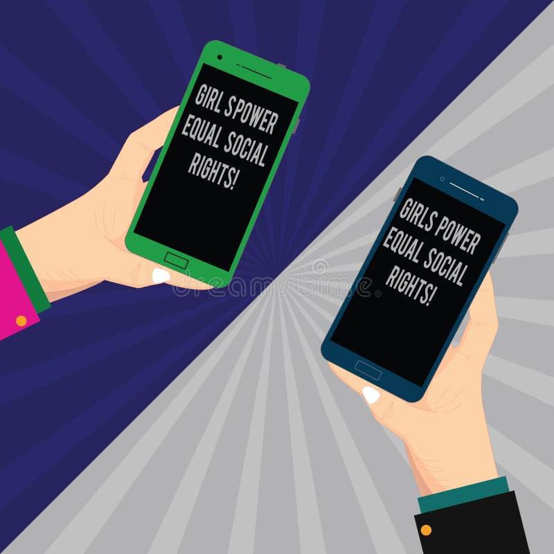 Słowo pisze tekst dziewczynom władza równego socjalny Wyprostowywa Biznesowy pojęcie dla feminizm kobiet i mężczyzn równouprawnie ilustracja wektor
