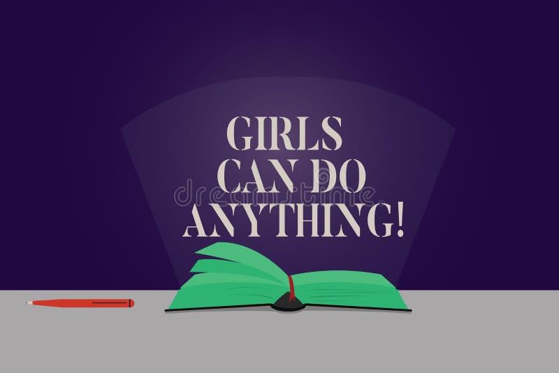 Słowo pisze tekst dziewczyny Może Robić Cokolwiek Biznesowy pojęcie dla kobiety władzy upełnomocnienia przywódctwo koloru kobiecy royalty ilustracja