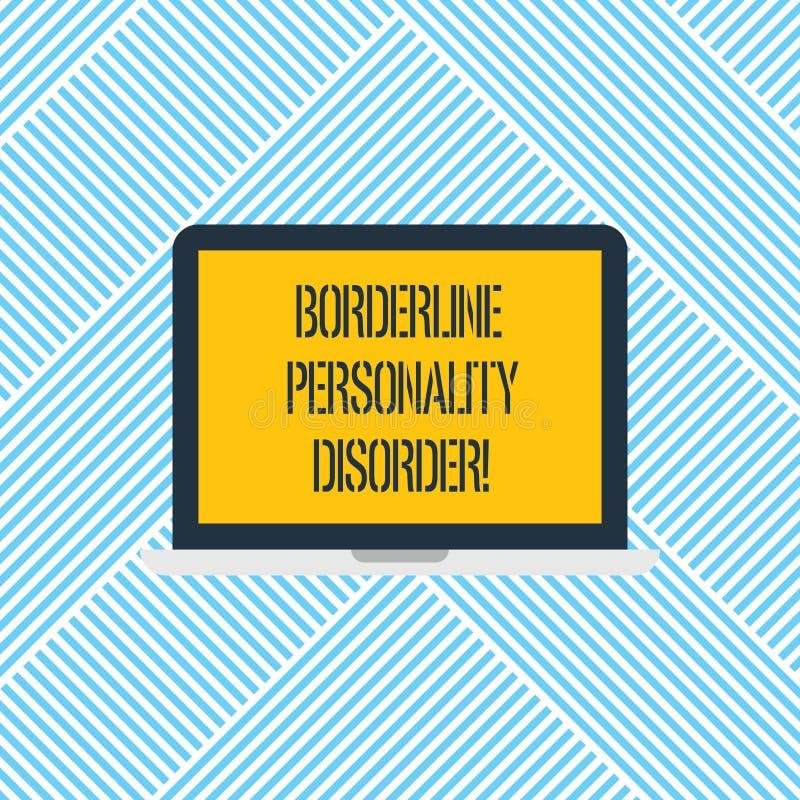 Słowo pisze tekst granicy osobowości nieładzie Biznesowy pojęcie dla zaburzenia psychiczne zaznaczającego niestałym nastroju lapt fotografia royalty free