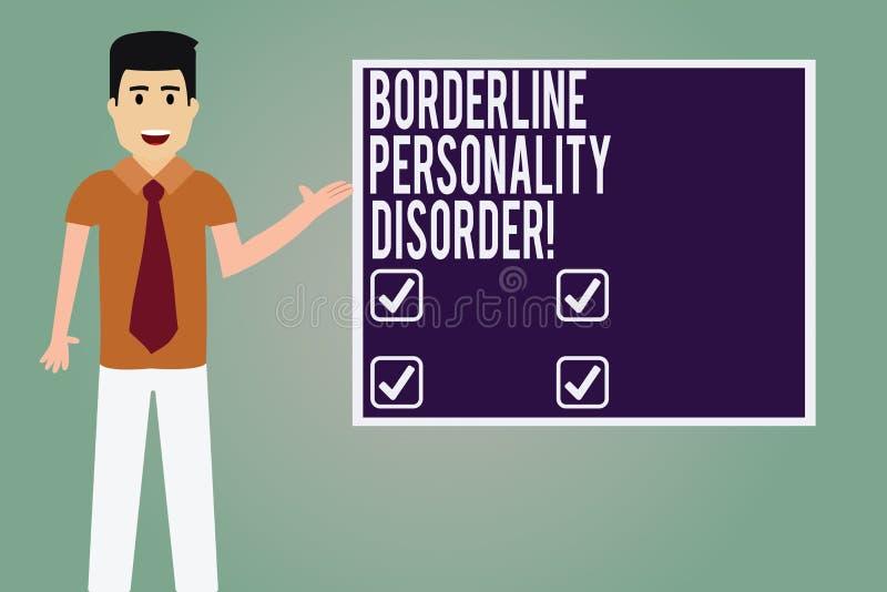 Słowo pisze tekst granicy osobowości nieładzie Biznesowy pojęcie dla zaburzenia psychiczne zaznaczającego niestałym nastroju mężc royalty ilustracja