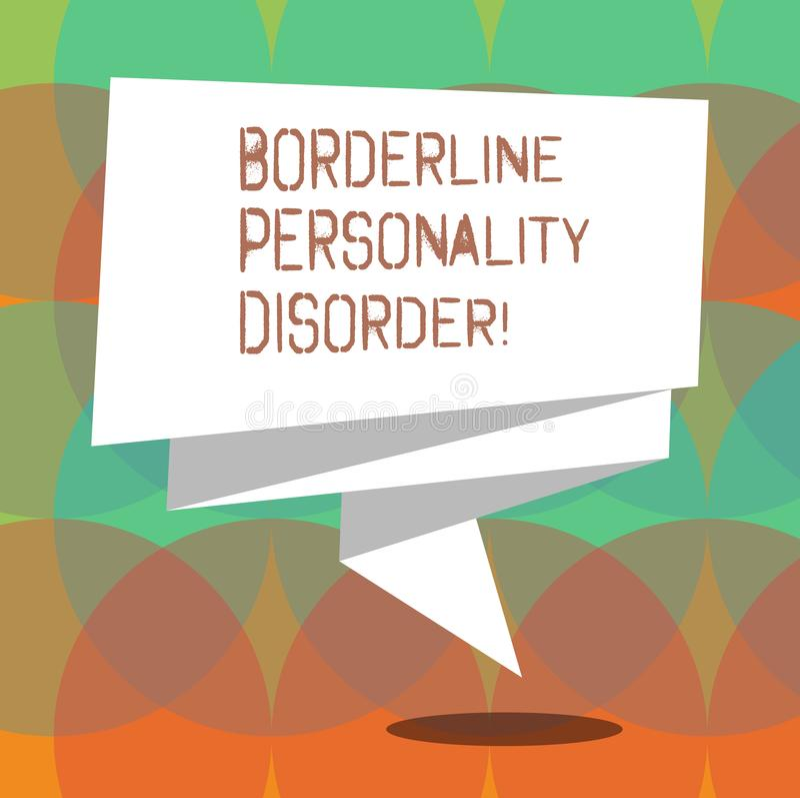 Słowo pisze tekst granicy osobowości nieładzie Biznesowy pojęcie dla zaburzenia psychiczne zaznaczającego niestałymi nastrojami S royalty ilustracja