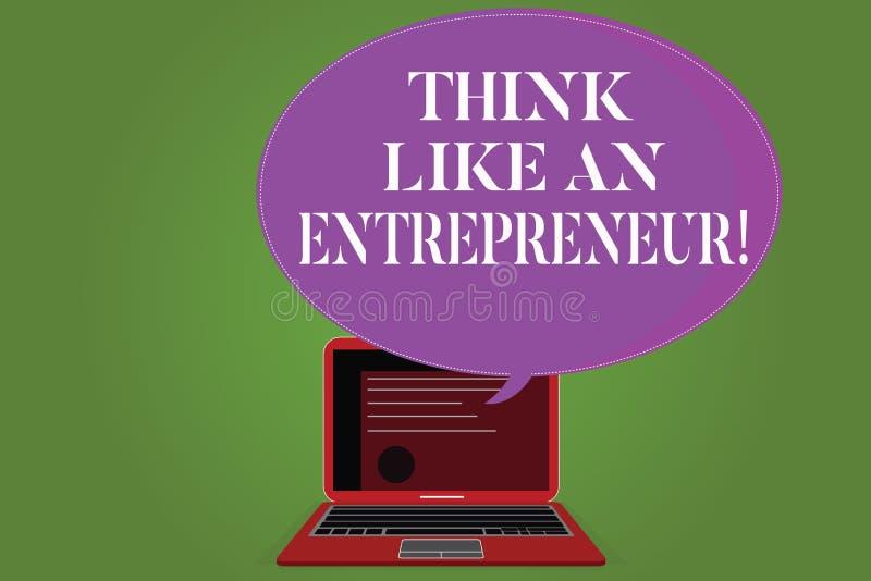 Słowo pisze tekst myśli Jak przedsiębiorca Biznesowy pojęcie dla przedsiębiorczość umysł Zaczynać w górę strategii royalty ilustracja