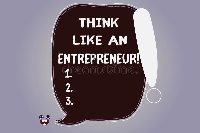 Słowo pisze tekst myśli Jak przedsiębiorca Biznesowy pojęcie dla przedsiębiorczość umysł Zaczynać w górę strategii pustego miejsc royalty ilustracja