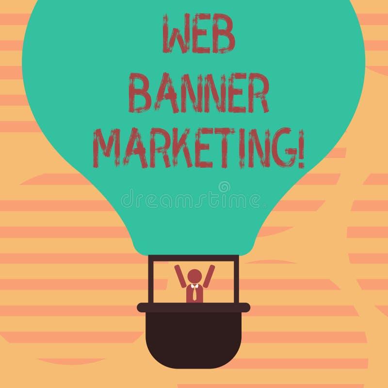 Słowo pisze tekst sieci sztandaru marketingu Biznesowy pojęcie dla powoduje osadzać reklamę w strony internetowej Hu analizie royalty ilustracja