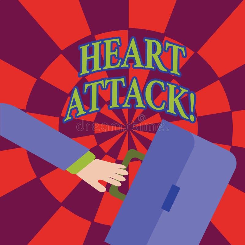 Słowo pisze teksta atak serca Biznesowy pojęcie dla nagłego występowania wieńcowy zakrzepica wynikający w śmiertelnym gnaniu ilustracji