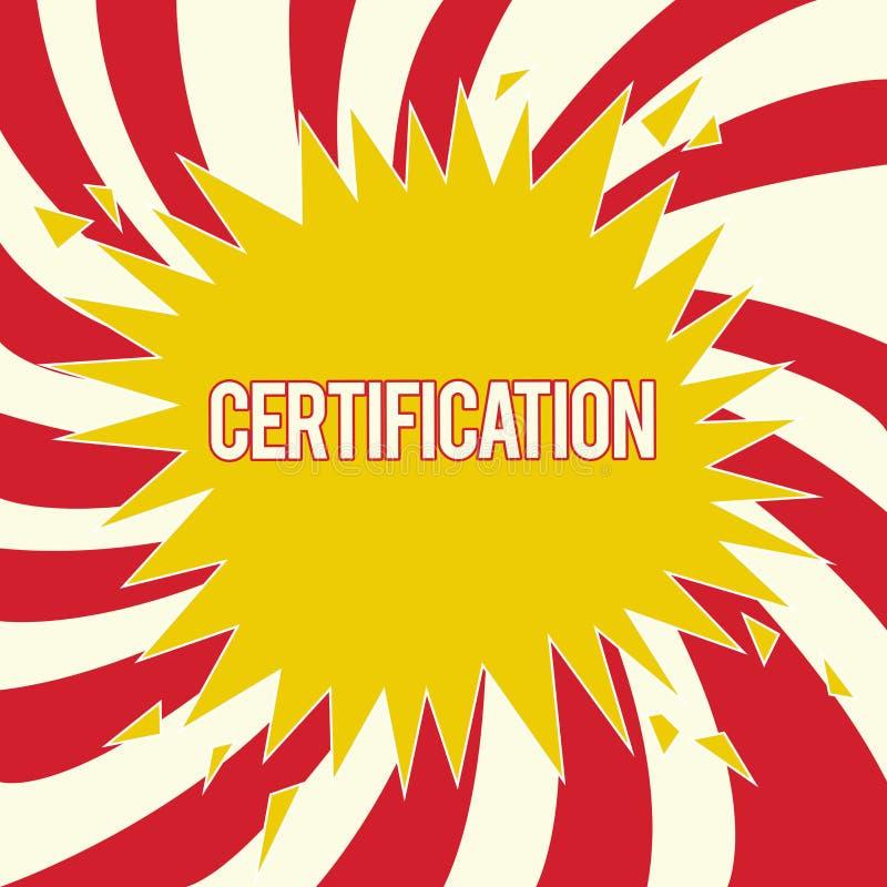 Słowo pisze teksta certyfikacie Biznesowy pojęcie dla Pod warunkiem, że someone poświadcza status z urzędowym dokumentem royalty ilustracja