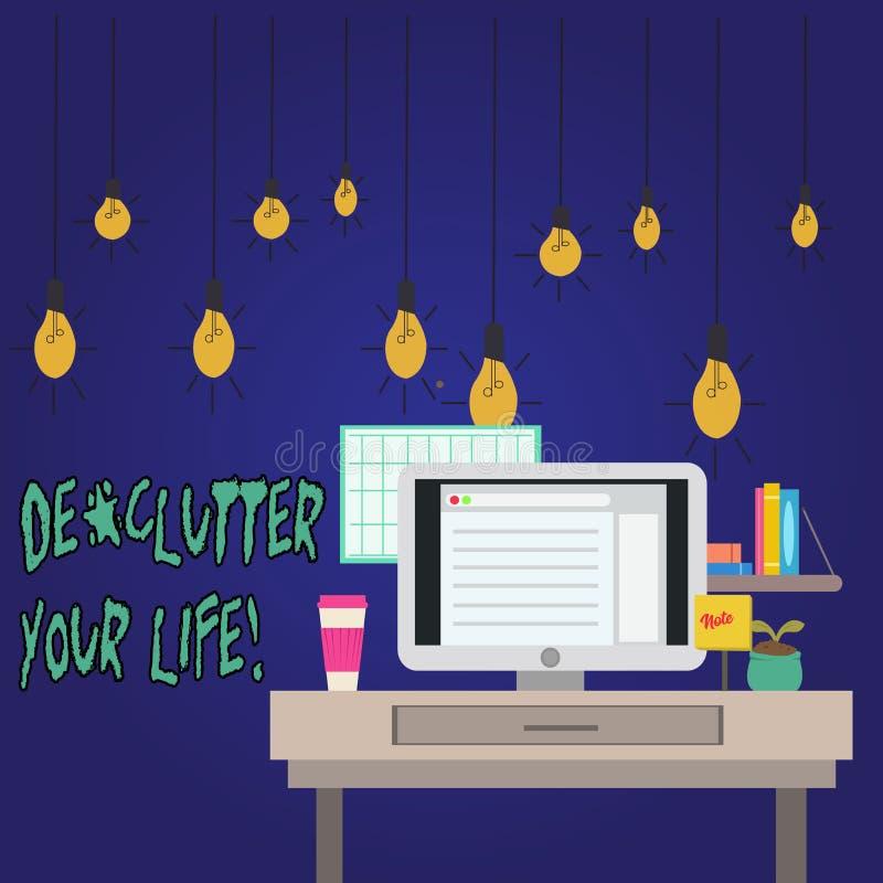 Słowo pisze teksta De Zagracenie Twój życiu Biznesowy pojęcie dla usuwa niepotrzebne rzeczy nieporządne lub zatłoczoną miejsce fo royalty ilustracja