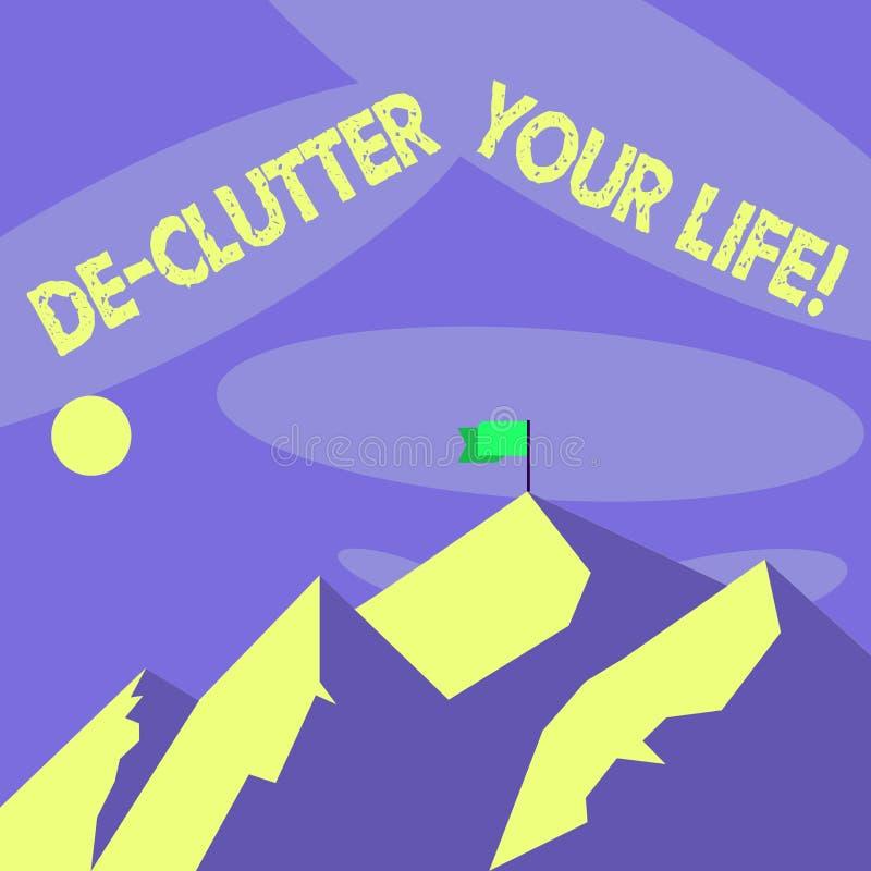 Słowo pisze teksta De Zagracenie Twój życiu Biznesowy pojęcie dla usuwa niepotrzebne rzeczy nieporządne lub zatłoczonych miejsca ilustracji