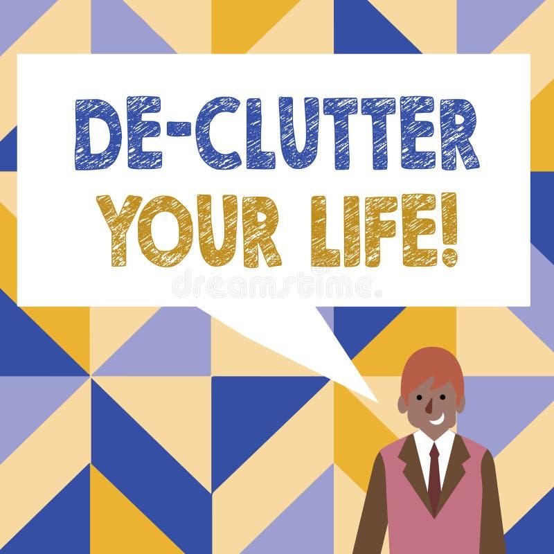 Słowo pisze teksta De Zagracenie Twój życiu Biznesowy pojęcie dla usuwa niepotrzebne rzeczy nieporządne lub zatłoczonych miejsca ilustracja wektor