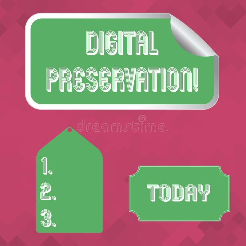 Słowo pisze teksta Digital konserwacji Biznesowy pojęcie dla zapewniać dostęp cyfrowej informacji puste miejsce w razie potrz royalty ilustracja