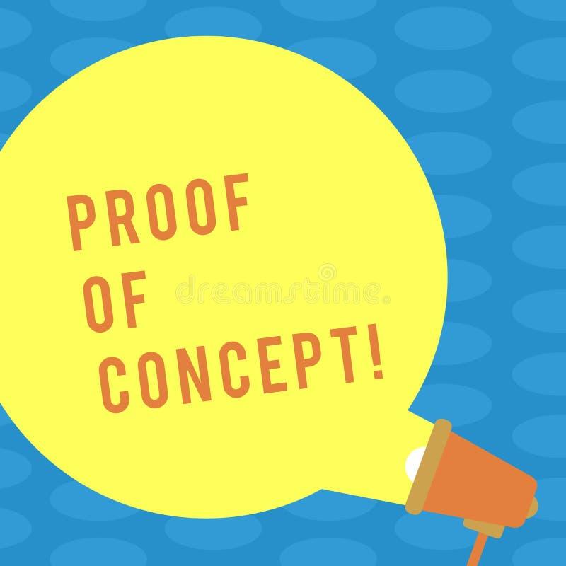 Słowo pisze teksta dowodzie pojęcie Biznesowy pojęcie dla dowodu typowo czerpie od eksperymentu lub projekta pustego miejsca royalty ilustracja