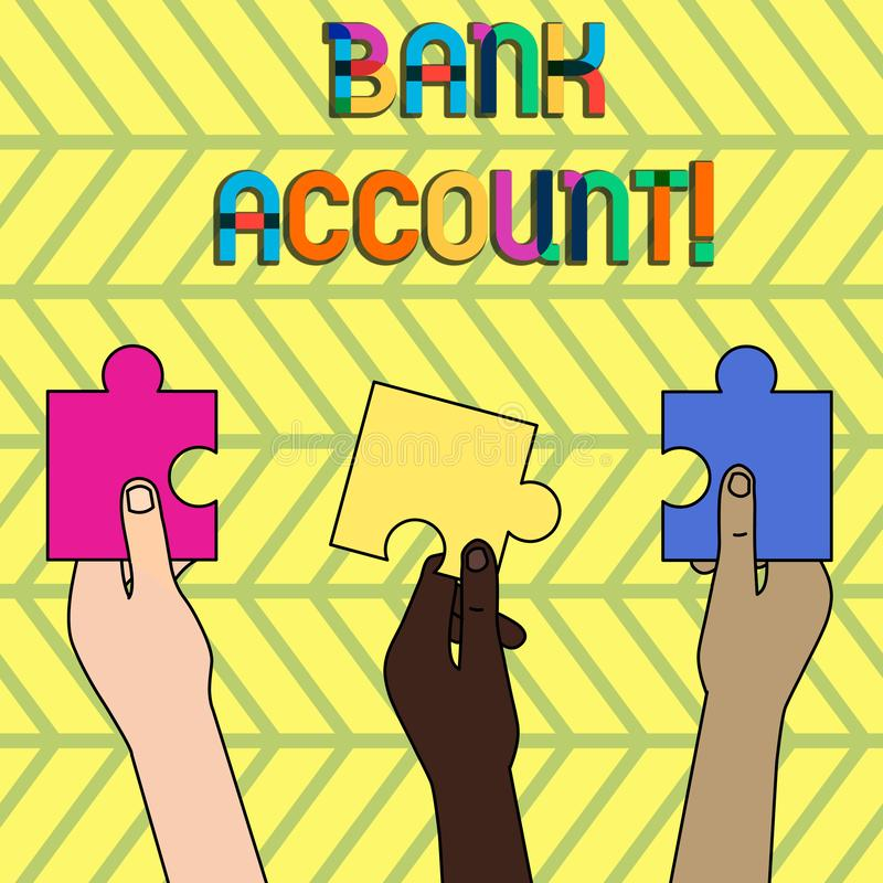 S?owo pisze teksta koncie bankowe Biznesowy poj?cie dla Reprezentuj? fundusze kt?ry powierza? bank klient ilustracja wektor