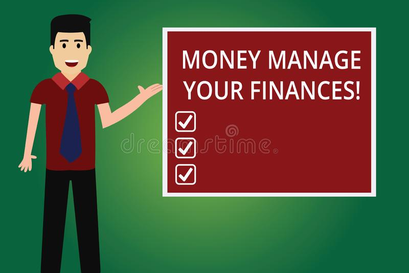 Słowo pisze teksta pieniądze Kieruje Twój finanse Biznesowy pojęcie dla Robić dobrego użytku twój przychody Inwestuje mężczyzny z royalty ilustracja