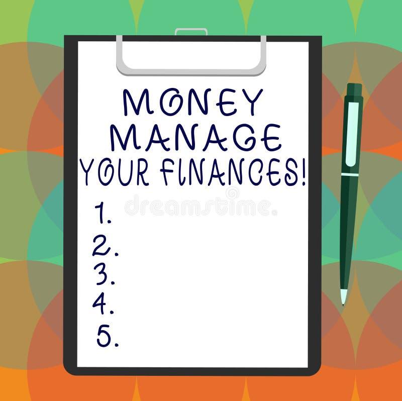 Słowo pisze teksta pieniądze Kieruje Twój finanse Biznesowy pojęcie dla Robić dobrego użytku twój przychody Inwestuje Pustego prz ilustracji