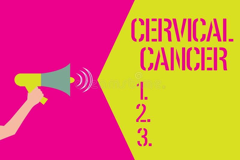 Słowo pisze teksta raku szyjkim macicym Biznesowy pojęcie dla zdarza się gdy komórki cervix r abnormally royalty ilustracja