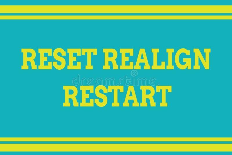 Słowo pisze teksta Reset Realign wznowienie Biznesowy pojęcie dla życie rewizji pomaga ciebie stawiać rzeczy w perspektywach royalty ilustracja