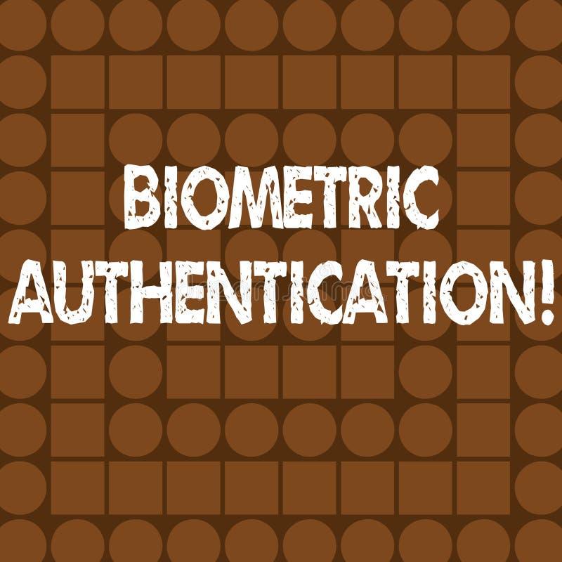 Słowo pisze tekstowi Biometrycznym uwierzytelnieniu Biznesowy pojęcie dla tożsamości weryfikacji wymaga biologicznego wkład ilustracja wektor