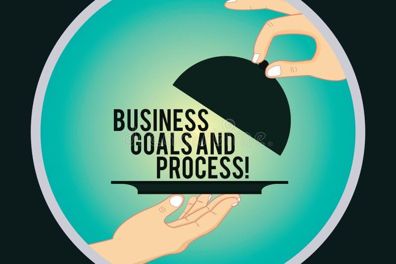 Słowo pisze tekstowi Biznesowych celach I procesie Biznesowy pojęcie dla Pracujących strategii osiąga celu Hu analizę royalty ilustracja
