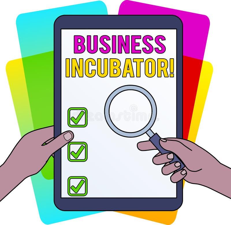 Słowo pisze tekstowi Biznesowym inkubatorze Biznesowy pojęcie dla firmy która pomaga rozwijać ręki nowe i początkowe firmy royalty ilustracja