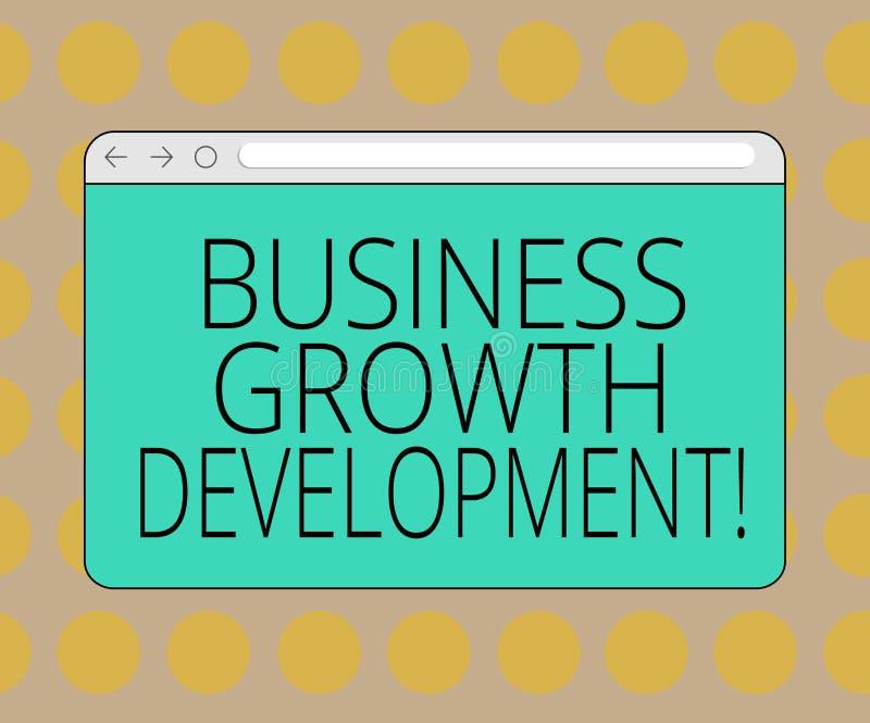 Słowo pisze tekstowi Biznesowym Wzrostowym rozwoju Biznesowy pojęcie dla ulepszać niektóre miarę przedsięwzięcie sukces ilustracja wektor