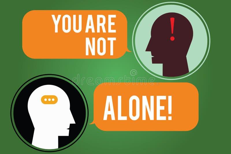 Słowo pisze tekstowi Ciebie no Jest Samotny Biznesowy pojęcie dla Oferować pomocy poparcia pomocy współpracy firmy royalty ilustracja