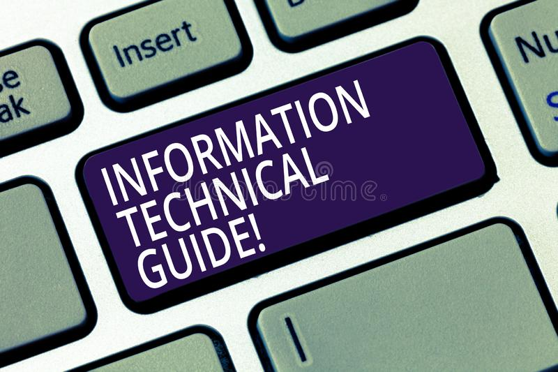 Słowo pisze tekstowi Ewidencyjnego Technicznego przewdonika Biznesowy pojęcie dla dokumentu zawiera instrukcje operacja obrazy stock