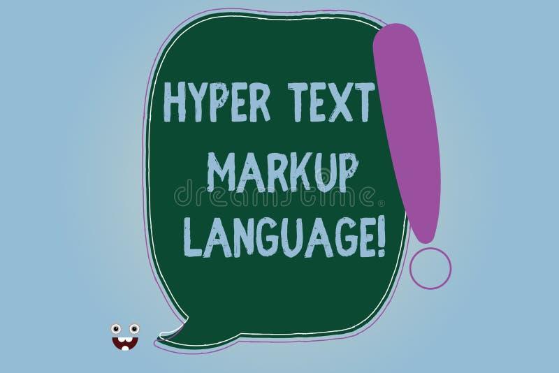Słowo pisze tekstowi Hiper- tekst marży języku Biznesowy pojęcie dla Standardowych języków dla tworzenia strony internetowe Puste ilustracji