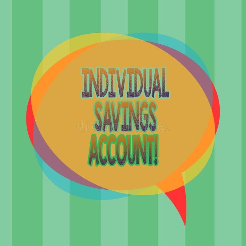 Słowo pisze tekstowi Indywidualnym oszczędzania koncie Biznesowy pojęcie dla oszczędzania konta oferował w Zjednoczone Królestwo  ilustracja wektor