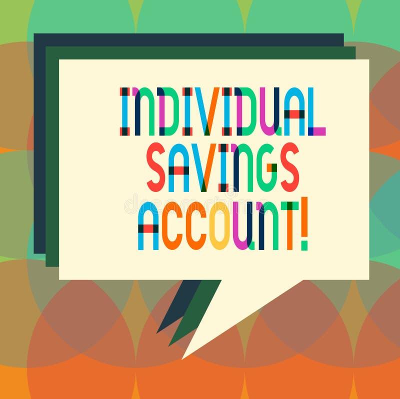 Słowo pisze tekstowi Indywidualnym oszczędzania koncie Biznesowy pojęcie dla oszczędzania konta oferował w Zjednoczone Królestwo  royalty ilustracja