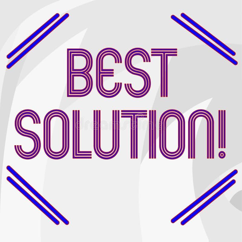Słowo pisze tekstowi Najlepszy rozwiązaniu Biznesowy pojęcie dla alternatywy lub podejścia ten najlepszy napady obecna sytuacja ilustracja wektor