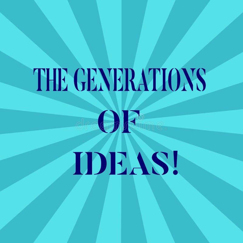 Słowo pisze tekstowi pokolenia pomysły Biznesowy pojęcie dla Brainstorming kreatywnie aktywności inspiracji Sunburst royalty ilustracja