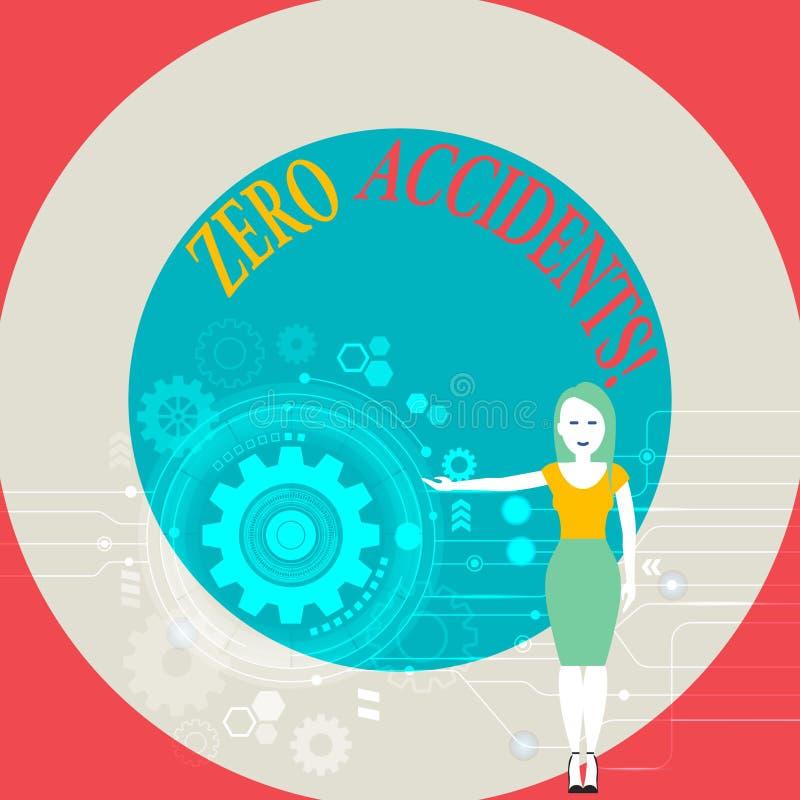 Słowo pisze tekstowi Zero wypadkach Biznesowy pojęcie dla znacząco strategii dla zapobiegać miejsce pracy wypadków kobiety royalty ilustracja