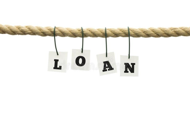 Słowo pożyczka w abecadło listach na arkanie zdjęcie stock