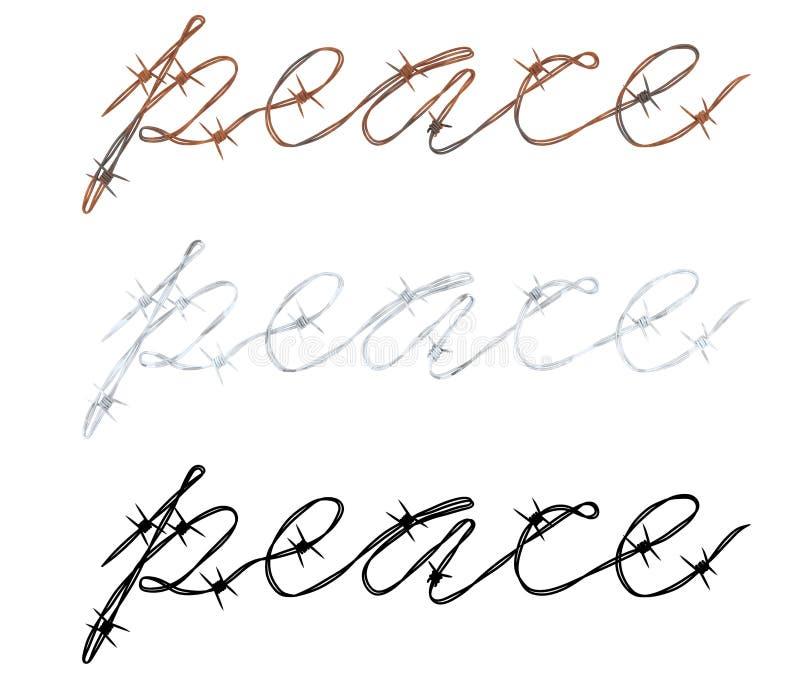 Słowo pokój pisać w drucie kolczastym ilustracji