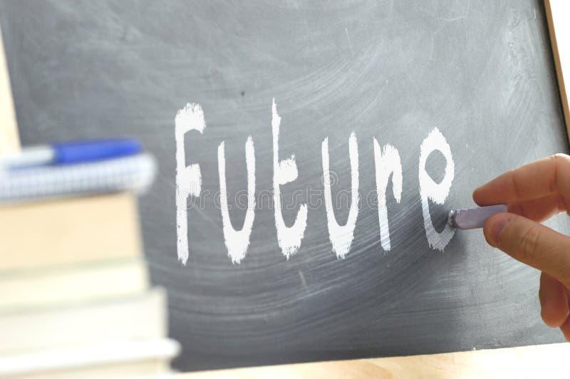 Słowo Przyszłościowa ręka pisać na blackboard fotografia royalty free