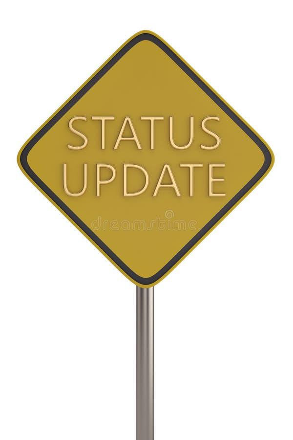 Słowo statusu aktualizacja na znaku ulicznym ilustracja 3 d ilustracji