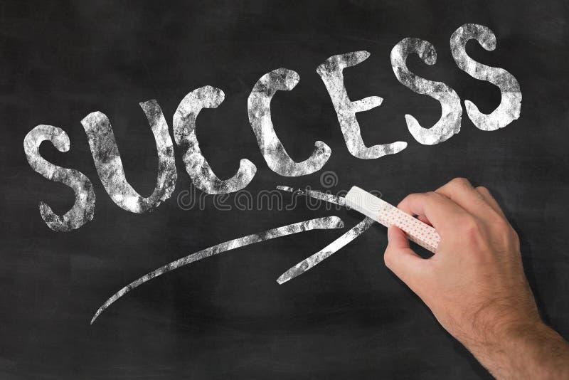 Słowo sukces pisać na chalkboard zdjęcia stock