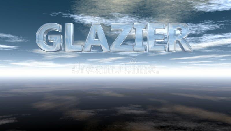 Słowo szklarz w szkle pod chmurnym niebem ilustracji