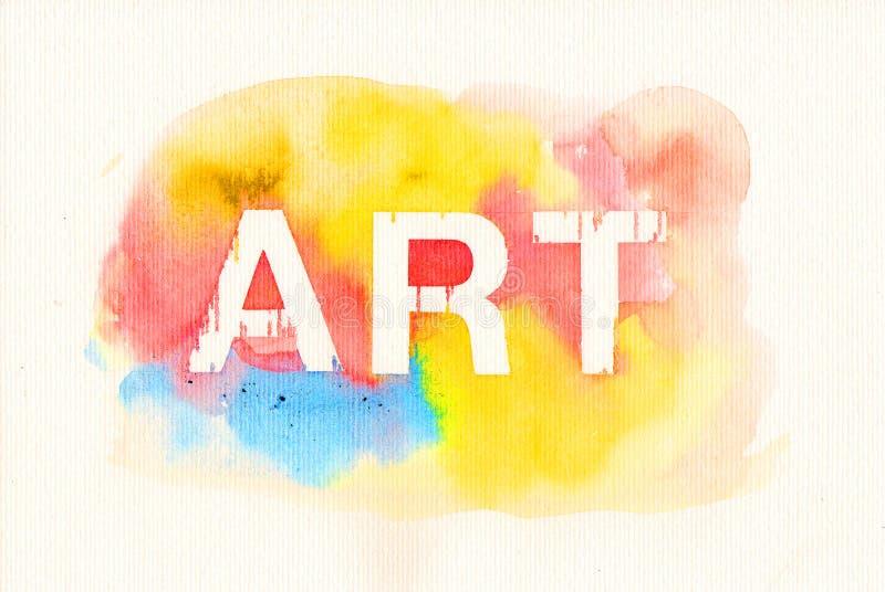 Słowo sztuka na wodnego koloru tle zdjęcie stock