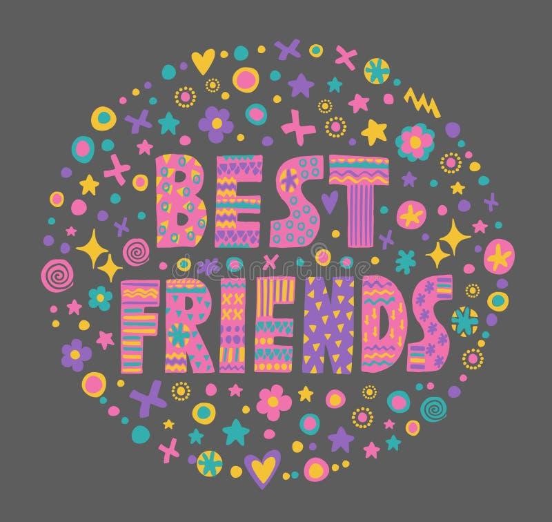 Słowo sztuki najlepsi przyjaciele ilustracja wektor
