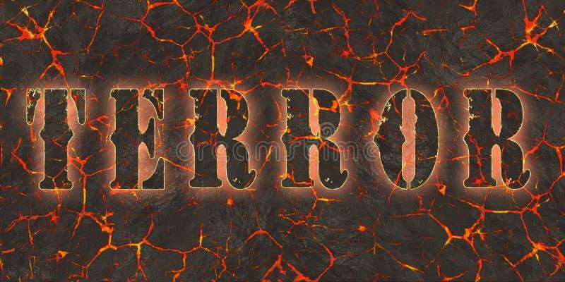 Słowo terror pisać na niebezpieczeństwo czerwieni lawie royalty ilustracja