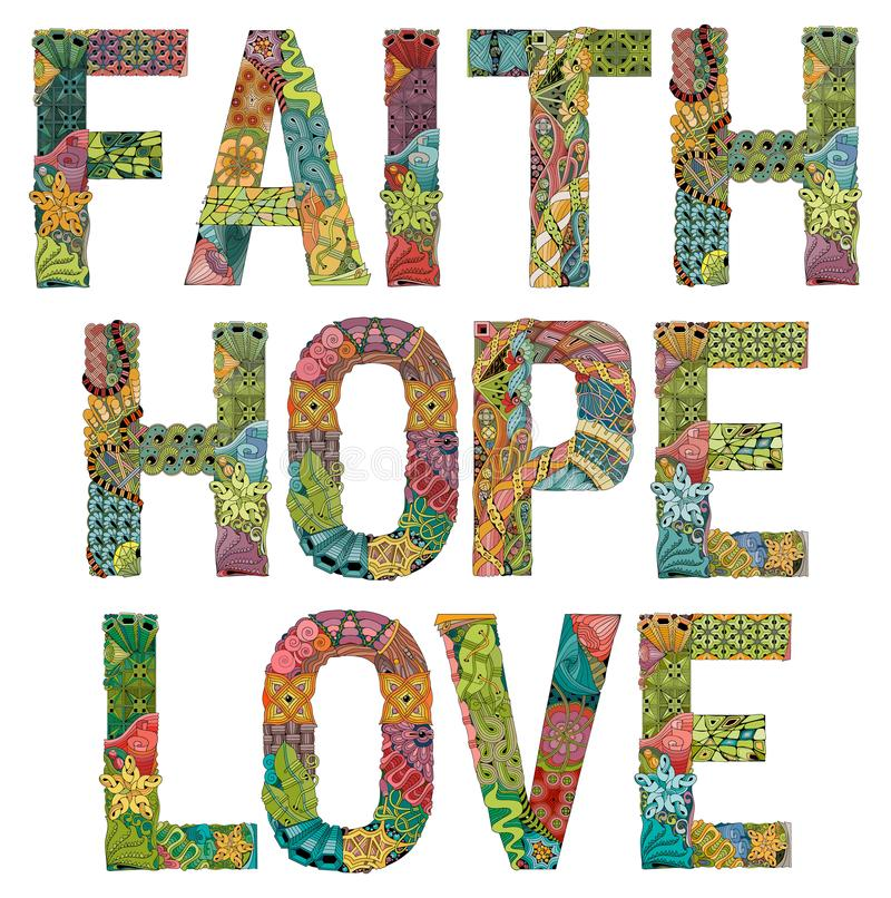 Słowo wiary miłość i nadzieja Wektorowy dekoracyjny zentangle przedmiot ilustracji