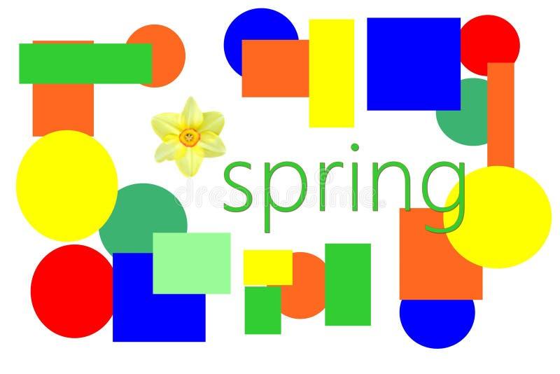 Słowo wiosna z kolorowymi kształtami i kwiatem zdjęcia royalty free